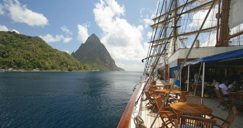 Sea Cloud II sailing around the Pitons in St Lucia